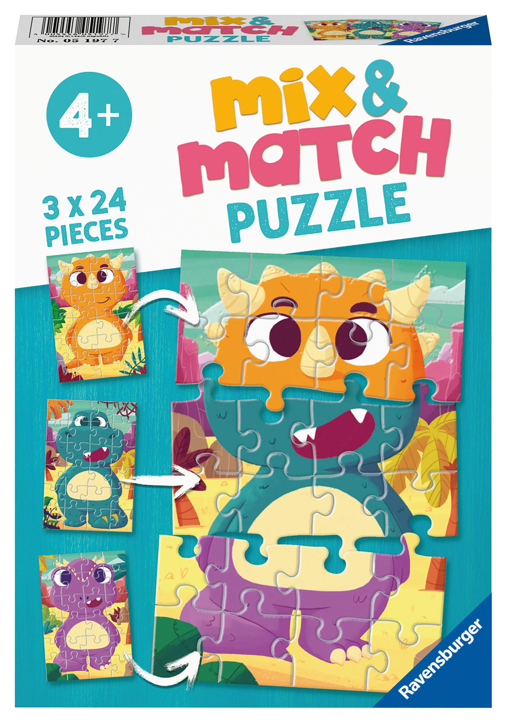 PUZZLE MIX MATCH DINOSAUR 3X24
